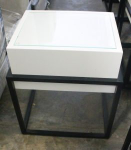 107, White & Metal Lamp Tables