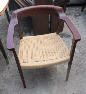 104A, Wood Arm Chair w Wicker Seat