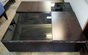 106B, Glass & Wood Top Coffee Table